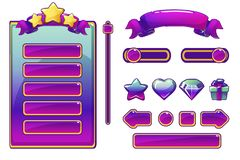 Cartoon purple assets and buttons For Ui Game, Game User Interface. And icons royalty free illustration