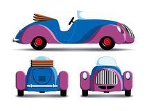 Cartoon purple car. Cartoon car with side, rear and front view Royalty Free Stock Photo