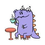 Cartoon purple croc drinking coffee. Vector illustration. Digital drawing cute character Stock Photography