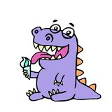 Cartoon purple croc eating ice cream. Vector illustration. Digital drawing cute character Royalty Free Stock Photos