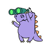 Cartoon purple croc looking through binoculars. Vector illustration. royalty free stock photos