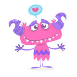 Cartoon purple cute and cool monster in love. St Valentines vector illustration of  loving and hugging monster. Royalty Free Stock Photos