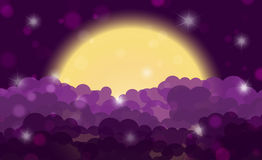 Cartoon purple night shining cloudy sky with moon Royalty Free Stock Photo