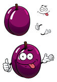 Cartoon purple plum fruit with thumb up Royalty Free Stock Image