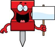 Cartoon Pushpin Sign Stock Images