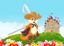 Cartoon Puss in boots with castle background Royalty Free Stock Photo