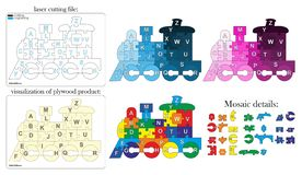 Cartoon puzzle english alphabet stock illustration