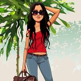 Cartoon puzzled woman with a bag in the nature. Cartoon puzzled woman with bag in the nature stock illustration