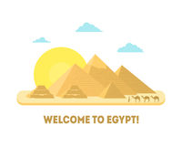 Cartoon Pyramid Symbol of Egypt Background Tourism Concept. Vector Royalty Free Stock Photo