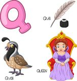 Cartoon Q alphabet. Illustration of Cartoon Q alphabet Stock Illustration