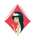Cartoon queen of diamonds in vector Stock Images