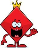 Cartoon Queen of Diamonds Waving Stock Images