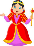 Cartoon queen holding scepter Royalty Free Stock Image