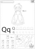 Cartoon queen and quokka. Alphabet tracing worksheet: writing A- Royalty Free Stock Images