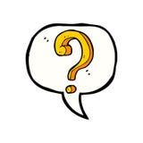 Cartoon question mark with speech bubble Stock Photo