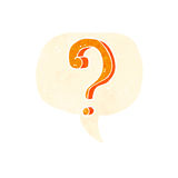 Cartoon question mark with speech bubble Stock Photos