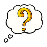 Cartoon question mark with thought bubble Royalty Free Stock Photography