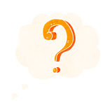Cartoon question mark with thought bubble Stock Photo
