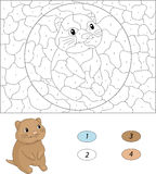 Cartoon quokka. Color by number educational game for kids Royalty Free Stock Photography