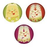 Cartoon rabbit. Set of badges cartoon rabbit Royalty Free Stock Photography