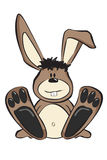 Cartoon Rabbit. In a sitting position with big feet and messed up hair Royalty Free Stock Photo