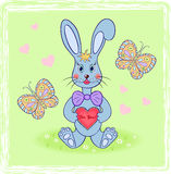 Cartoon rabbit with abstract heart Royalty Free Stock Photography