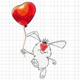 Cartoon rabbit with a balloon drawn on checkered sheet. Cartoon rabbit with balloon drawn on checkered sheet Stock Images