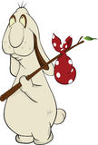 Cartoon Rabbit and Bindle Sack Royalty Free Stock Images
