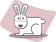 Cartoon Rabbit in Black and White. Cartoon Rabbit with Big Eye in Black and White Royalty Free Stock Photography