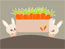 Cartoon rabbit and carrot illustration Royalty Free Stock Photo