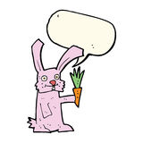 Cartoon rabbit with carrot with speech bubble Stock Image