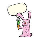 Cartoon rabbit with carrot with speech bubble Stock Photography