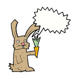 Cartoon rabbit with carrot with speech bubble Stock Photo