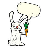 Cartoon rabbit with carrot with speech bubble Royalty Free Stock Images