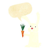 Cartoon rabbit with carrot with speech bubble Royalty Free Stock Photos