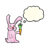 Cartoon rabbit with carrot with thought bubble Royalty Free Stock Photos