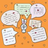Cartoon Rabbit with chat cloud vector illustration. Bunny with talking bubble. Hare at orange background. Wild animal vector illustration