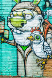 Cartoon Rabbit & Chicken Graffiti Wall Royalty Free Stock Photos