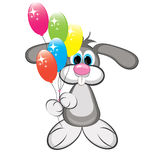 Cartoon rabbit with colorful balloons Stock Photography