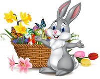 Cartoon rabbit with Easter egg in the basket. Illustration of Cartoon rabbit with Easter egg in the basket Royalty Free Stock Photography