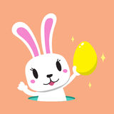 Cartoon rabbit with easter egg Stock Images