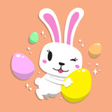 Cartoon a rabbit with easter eggs. For design stock illustration