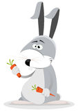 Cartoon Rabbit Eating Carrot Stock Photo