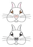 Cartoon rabbit face vector. Cartoon rabbit face with a heart shaped nose vector illustration Royalty Free Stock Photos