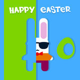 Cartoon Rabbit Hipster In Glasses Happy Easter Holiday Greeting Card Banner. Flat Vector Illustration Royalty Free Stock Photography