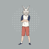 Cartoon Rabbit Hipster Wear Fashion Clothes Retro Abstract Background. Vector Illustration Royalty Free Stock Images