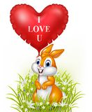 Cartoon rabbit holding red heart balloon. Illustration of Cartoon rabbit holding red heart balloon Stock Photo
