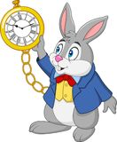 Cartoon rabbit holding watch. Illustration of Cartoon rabbit holding watch Stock Photo