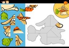 Cartoon rabbit jigsaw puzzle game Royalty Free Stock Photo