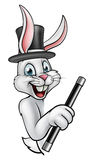 Cartoon Rabbit Magician Pointing. A cartoon white rabbit magician character peeking around a sign wearing a hat and holding a magic wand Stock Photo